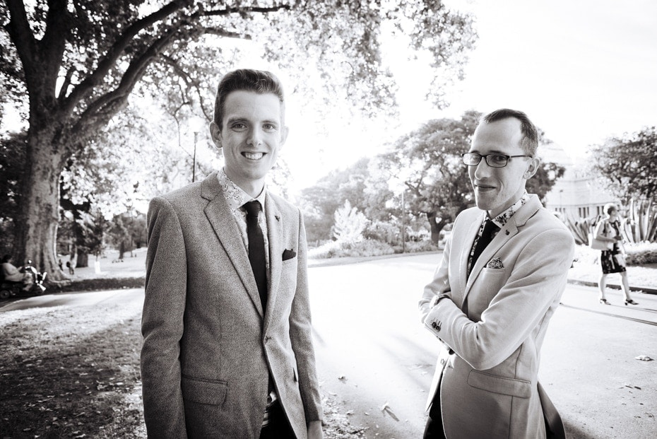 The two grooms in Exhibition Gardens, Melbourne looking very happy and relaxed. The formalities are over!